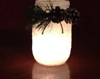 Mason jar, candle holder, pinecone mason jar, holiday candle holder, Christmas mason jar