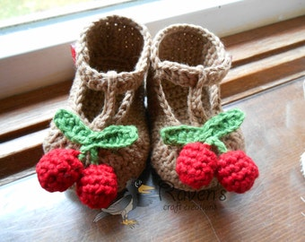 Cherry Booties- MADE to ORDER- Newborn to 12 months