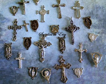 Sale Assortment  Catholic Rosary connectors-Crucifixes center pieces-rustic Religious Medal Charms-Silver Rosary Findings-Diy Rosary making