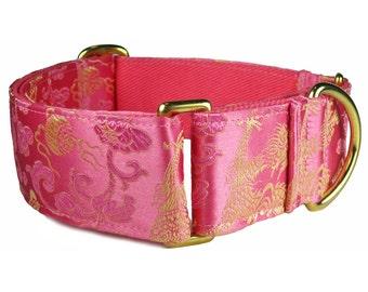 Whippet Collar, Dragon Martingale Collar, Game of Thrones, Dog Gift, Girl Dog Collar, Pink Dog Collar, Silk Brocade, Custom Dog Collars