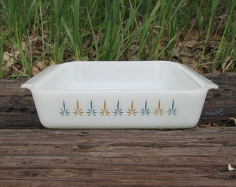 Candle Glow Pattern Anchor Hocking Fire King Ovenware Square Glass Cake Pan 8 Inch Atomic Made in USA