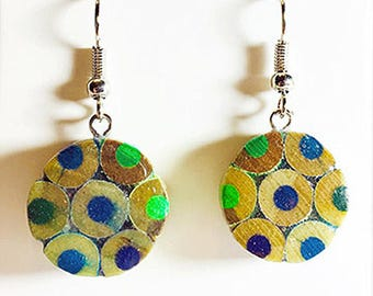 blue/green colored pencil earrings