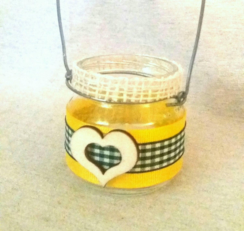Kleine Gläser aus Glas Shabby Chic Herzstück Tischkarte