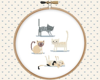 Cat cross stitch pattern pdf - instant download - animal cross stitch - kitten cross stitch - easy cross stitch pattern