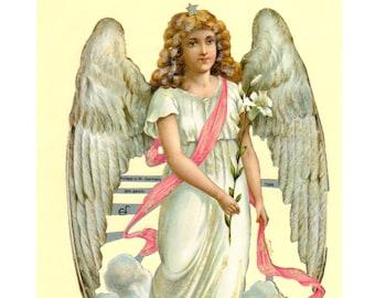 German Angel Victorian Die Cuts Embossed Scraps, Scrap Reliefs