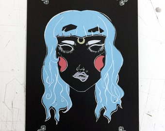 Blue Witch. Witchy Screenprint