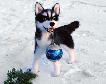 A husky puppy Richard. Felt toy wool dog