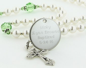 August Baptism Rosary, Personalized Rosary, Christening Gift, Rosary, Girl Rosary, Baptismal Rosary, Peridot Rosary, Rosary, CuteWC8c
