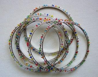 Pretty Colorful Glass Beaded Silver Tone Metal Bangle Bracelets