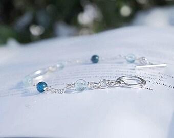 Natural apatite & genuine Blue Topaz bracelet
