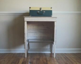 White Washed Reclaimed Storage/Record Player Stand/ Wire Basket/ Industrial Storage/ Kitchen Storage