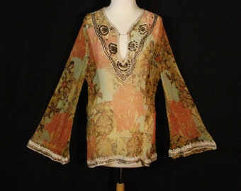 Wearable Art Tunic Top Blouse Pappillon Boho Hippie Abstract L XL