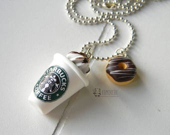 Starbucks Coffee & Donut, cappuccino, coffee and donut, necklace