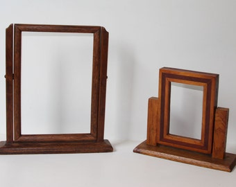 2 Tabletop Swing Picture Frames, Vintage, Wooden, c.1920s, One Inlaid Shop Project, Vertical Format, Ready for Your Treasures