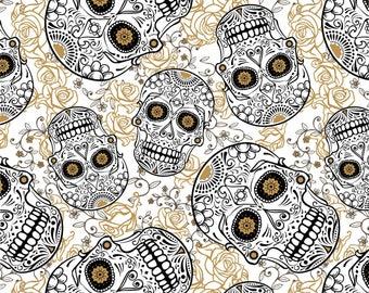 White and Gold Sugar Skull Cotton Fabric