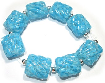 Handmade Glass  Lampwork Beads Dappled Turquoise Groovy Nuggets