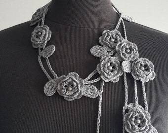 Crochet Rose Necklace,Crochet Neck Accessory, Flower Necklace, Grey, 100% Cotton.