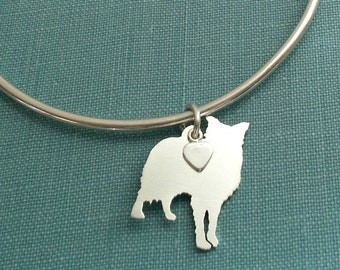 Border Collie Dog Bangle Bracelet, Sterling Silver Personalize Pendant, Breed Silhouette Charm, Rescue Shelter, Memorial Gift