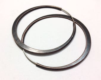 Oxidized Copper Hoops - Continuous Endless Style - Self locking - Handcrafted - Hammered Hoop Earrings