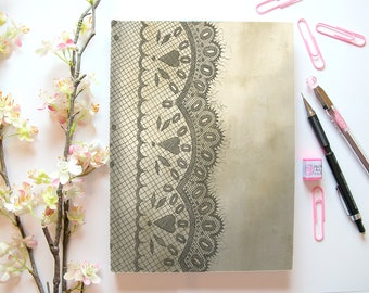 Lace Print Sketch Book // Sketchbook, Gothic, Vintage, Coffee, Stationery, Elegant, Pad, Office Supplies, Gift for Her, Artist, Watercolor
