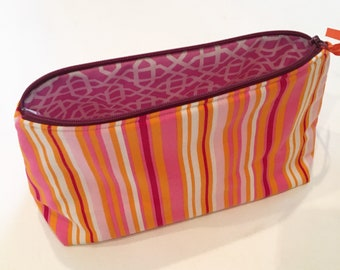 XL stripes cosmetic bag - pink and orange - makeup bag - polka dots - zipper bag - zipper pouch - feminine - stripes