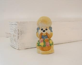 Vintage poodle figurine, Kitsch Jasco dog bell, poodle with basket, Critter Bell, granny chic