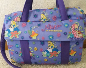 Alice in Wonderland Diaper Bag with changing pad  by EMIJANE