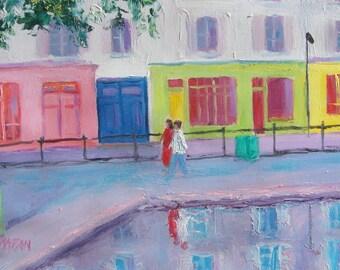 PARIS art, miniature art, St Martin Canal, Paris painting, city art, Paris street scene, Paris decor, living room art, Etsy Art, Jan Matson