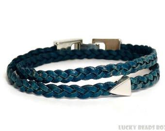 Womens leather bracelet mens leather bracelet blue bracelet blue leather bracelet braided leather bracelet snap clip clasp FLB5-39-03