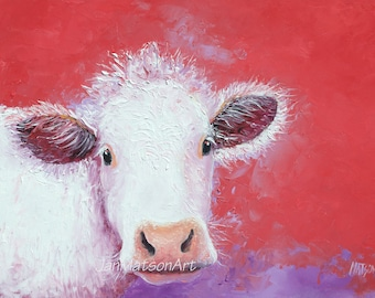 Cow painting, FRAMED oil painting, kitchen wall art, Animal Art, country home decor, white Charolais cow, Jan Matson