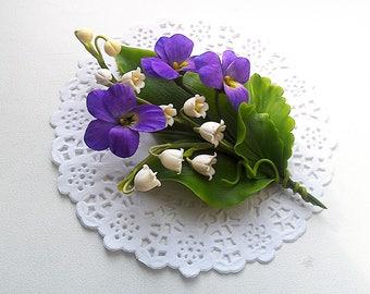"Brooch ""Spring fantasy"". Vild violets brooch. Spring flowers brooch. Lily-of-the-valley brooch .Gift for women. Clay flowers."