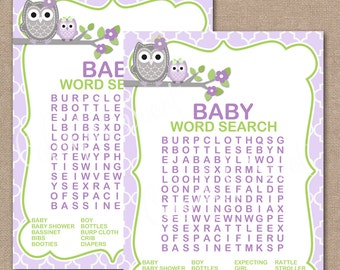 INSTANT DOWNLOAD, Owl Baby Shower Word Search, Printable Baby Shower Games, Baby Shower Games, Owl, Word Search, girl, #0014