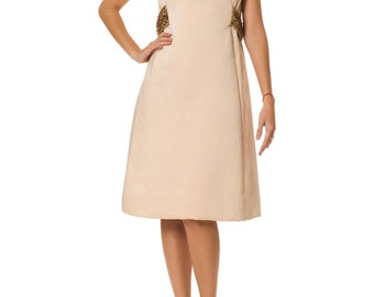 Vintage 1960s Structured Dress with Beaded Belt Detail Size: XS/S