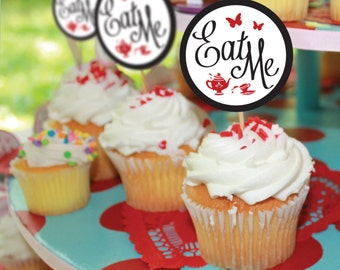 Alice In Wonderland Favor Tags or Cupcake Toppers