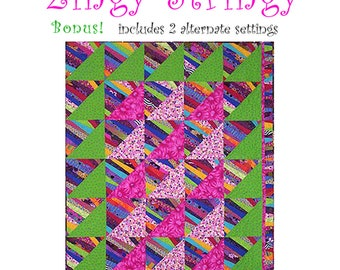 string pieced quilt pattern - Zingy Stringy