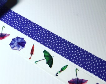 Rainy Days, Umbrellas and Raindrops, Washi Tape Sample Lengths, By Love Nicole
