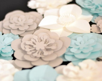 Multi colour set of 20 small handmade paper flowers DIY