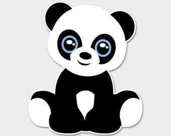 """Cute Panda Bumper Sticker Decal 4"""""""