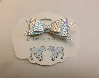 Silver holographic bow, hair bow, double stacked bow, silver bow, baby bow,