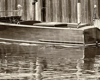 Antique Wooden Boat - Sepia Photograph