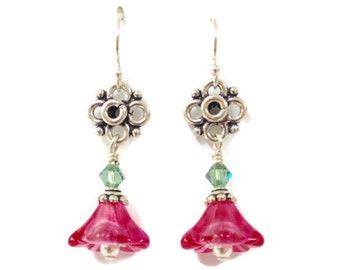 Pink Flower Earrings Gift for Her, Beaded Earrings Birthday Gift for Mom, Dangle Earrings, Bohemian Beaded Jewelry Sister Gift, Mothers Day