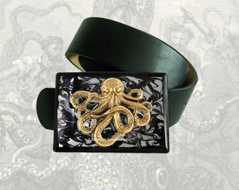Octopus Belt Buckle Inlaid in Hand Painted Glossy Enamel Black Ink Swirl Design Nautical Inspired Metal Buckle with Color Options