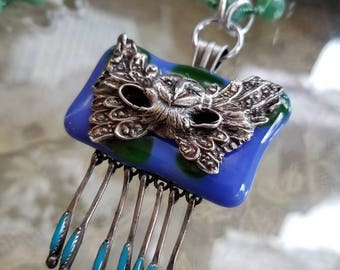 masked owl on fused glass dangles from knotted crystals necklace