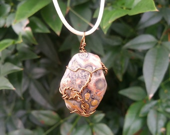 Wire wrapped Leopardskin Jasper Necklace