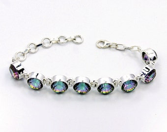 Rainbow Lights Mystic Topaz bracelet & .925 Sterling Silver Bracelet , AE67 The Silver Plaza