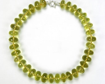 quartz beads round faceted necklace