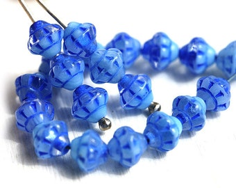30pc Blue Mixed Bicone beads, Czech Republic blue glass spacer beads, 6mm fancy bicones - 2584