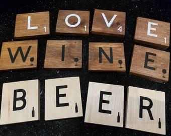 """Large Scrabble Tiles- Big Scrabble Tiles- Giant Scrabble Tiles- 4"""" Scrabble Letters- Scrabble Wall Art Wood Tiles-  Scrabble Home Decor"""