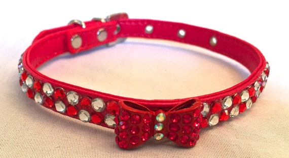 Rhinestone Leather Dog Collar