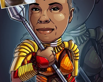 Be The Hero: Okoye, 11x17 --- custom art, cartoon, superhero portrait, gift for her, poster, illustration, comic, caricature, mom